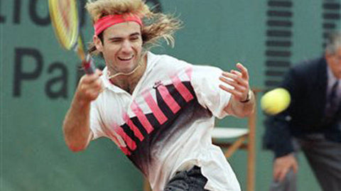Andre Agassi with headband on