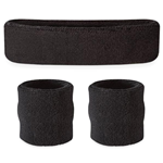 Black Sweatbands - Terrycloth Cotton Headbands & Wristbands