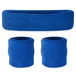 Blue Sweatbands - Terrycloth Cotton Headbands & Wristbands