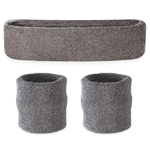 Gray Sweatbands - Terrycloth Cotton Headbands & Wristbands