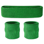 Green Sweatbands - Terrycloth Cotton Headbands & Wristbands