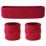 Maroon Sweatbands - Terrycloth Cotton Headbands & Wristbands