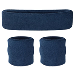 Navy Sweatbands - Terrycloth Cotton Headbands & Wristbands