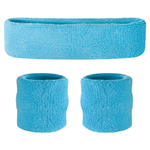Neon Blue Sweatbands - Terrycloth Cotton Headbands & Wristbands