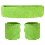 Neon Green Sweatbands - Terrycloth Cotton Headbands & Wristbands