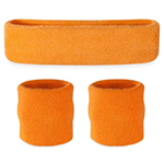 Neon Orange Sweatbands - Terrycloth Cotton Headbands & Wristbands
