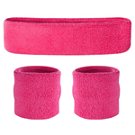 Neon Pink Sweatbands - Terrycloth Cotton Headbands & Wristbands
