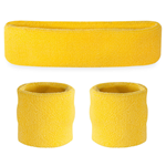 Neon Yellow Sweatbands - Terrycloth Cotton Headbands & Wristbands