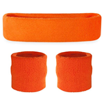 Orange Sweatbands - Terrycloth Cotton Headbands & Wristbands