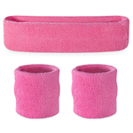 Pink Sweatbands - Terrycloth Cotton Headbands & Wristbands