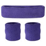 Purple Sweatbands - Terrycloth Cotton Headbands & Wristbands