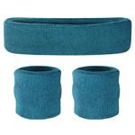 Teal Sweatbands - Terrycloth Cotton Headbands & Wristbands