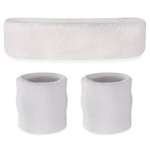 White Sweatbands - Terrycloth Cotton Headbands & Wristbands