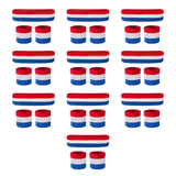 Bulk Red White & Blue Sweatband Sets (10 Pack)
