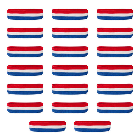 Bulk Kids Red White & Blue Head Sweatbands (20 Pack)