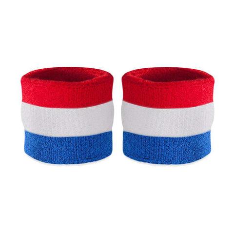 Kids Red White & Blue Wristband Pair (Includes 2 Wrist Sweatbands)