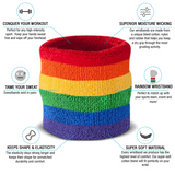 Rainbow Sweatband Wristband Pair