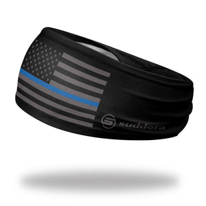 "Thin Blue Line Headband (3.5"" Tapered)"