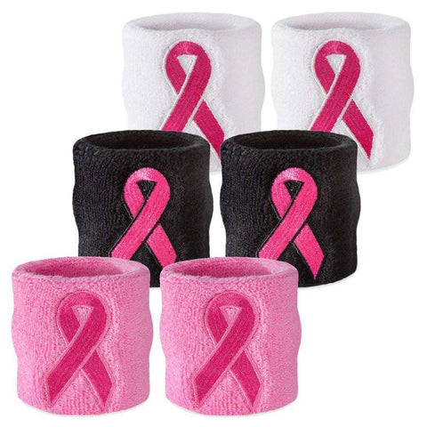 Pink Ribbon Wristband Pair