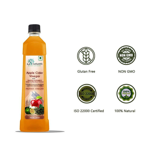 Apple Cider Vinegar with  Mother with Garcinia Cambogia & Green Coffee Bean Extract - 250ml - La Nature's