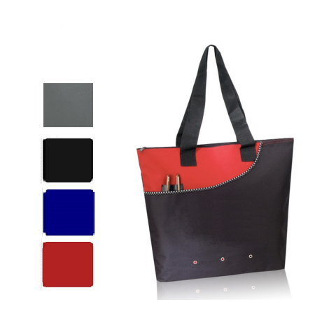 Deluxe Polyester Tote Bag with Zipper, Tote Bags