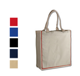 Stylish Shopping Cotton Tote Bag with Color Stripe, Tote Bags