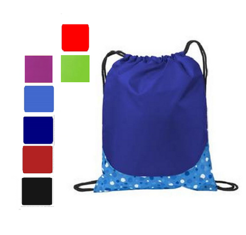 Patterned Drawstring Bag in Vibrant Colors, Cinch Pack