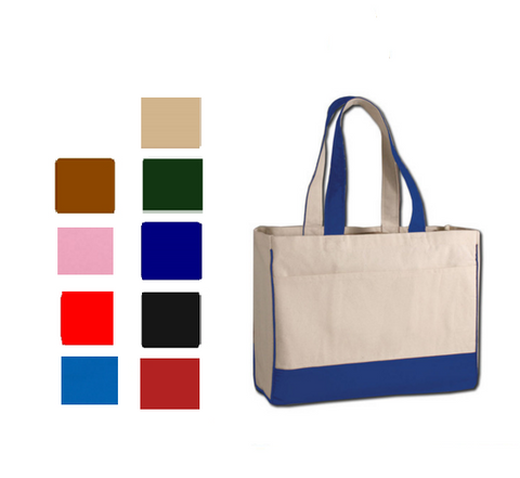 Heavy Canvas Tote Bag with Inside Zipper Pocket, Tote Bags