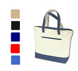 Heavy Canvas Tote Bag with Color Zipper, Tote Bags