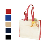 Heavy Canvas with Side Pocket and Colored Handles Tote Bag, Tote Bags