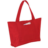 Solid Polyester Tote Bag with Outside Pocket, Tote Bags