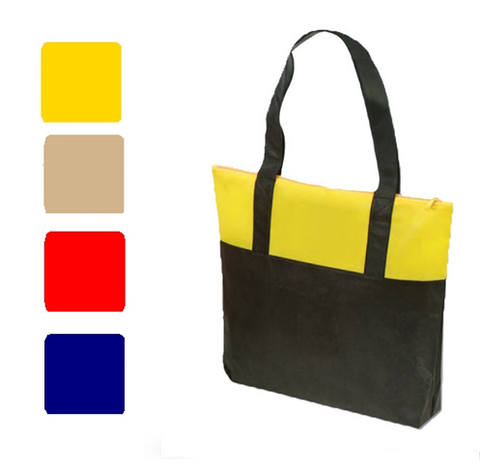 Dual Color None-Woven Tote Bag with Zipper, Tote Bags