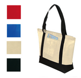 Wide None-Woven Tote Bag with Pocket & Zipper, Tote Bags