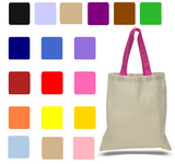 Blank Canvas Tote Bag with Color Handles, Tote Bags