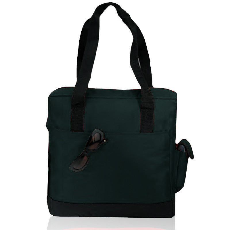 Zippered Polyester Tote Bag with Side Pocket, Tote Bags