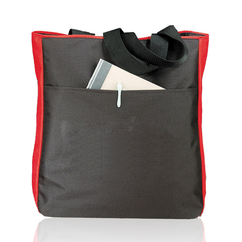Side Zippered Polyester Tote Bag, Tote Bags
