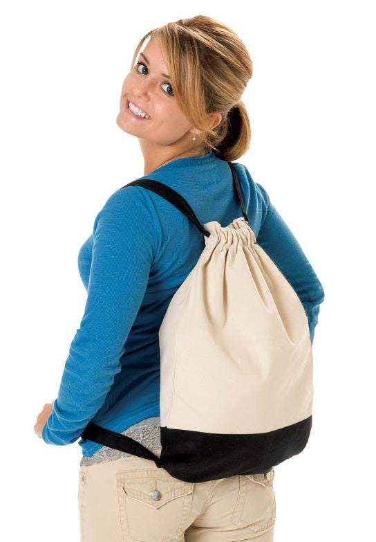Sturdy Cotton Canvas Sport Drawstring Backpack, Cinch Pack