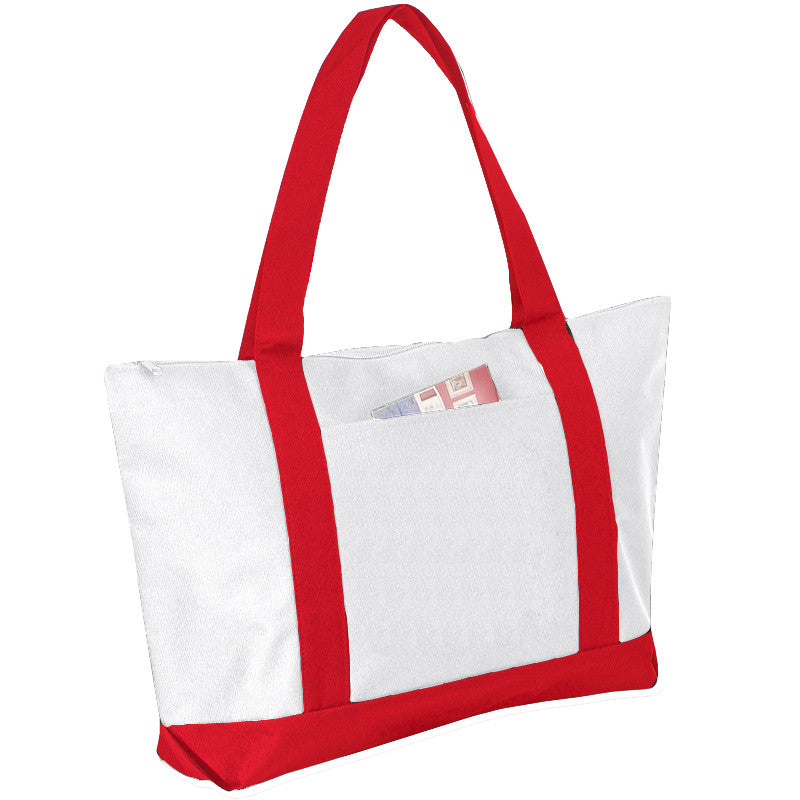 Wide Poly Zip Polyester Tote Bag, Tote Bags