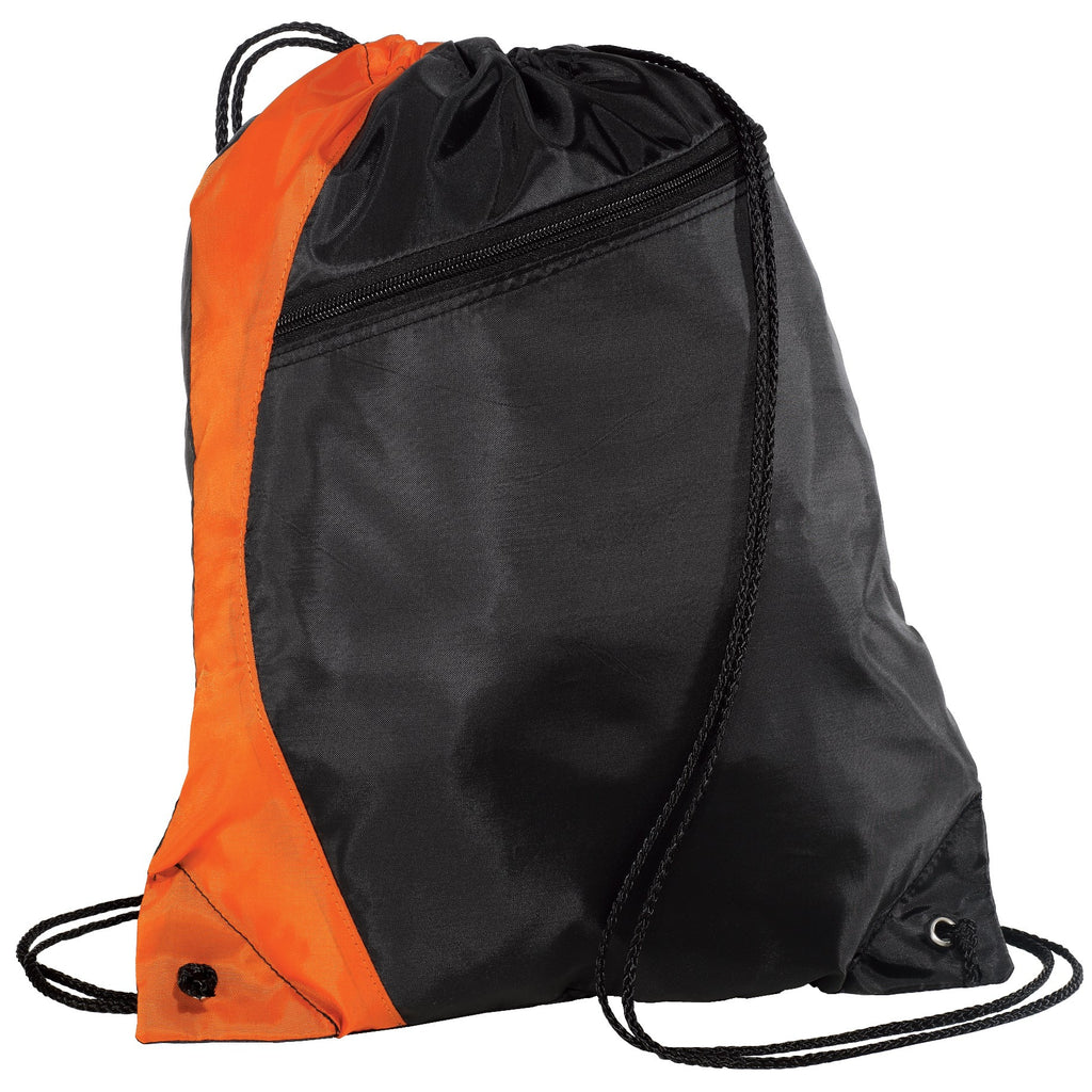 Nylon Drawstring Backpack with Zipper, Cinch Pack