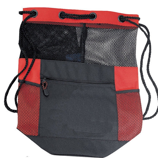 Polyester Drawstring bag with Expanded  Mesh, Cinch Pack