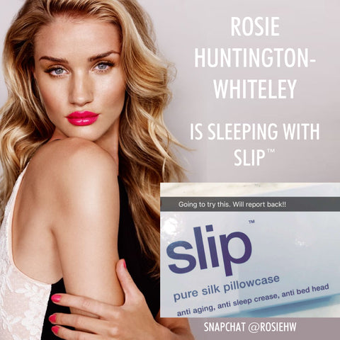 Rosie Huntington Whitely sleeps with slip silk pillowcase