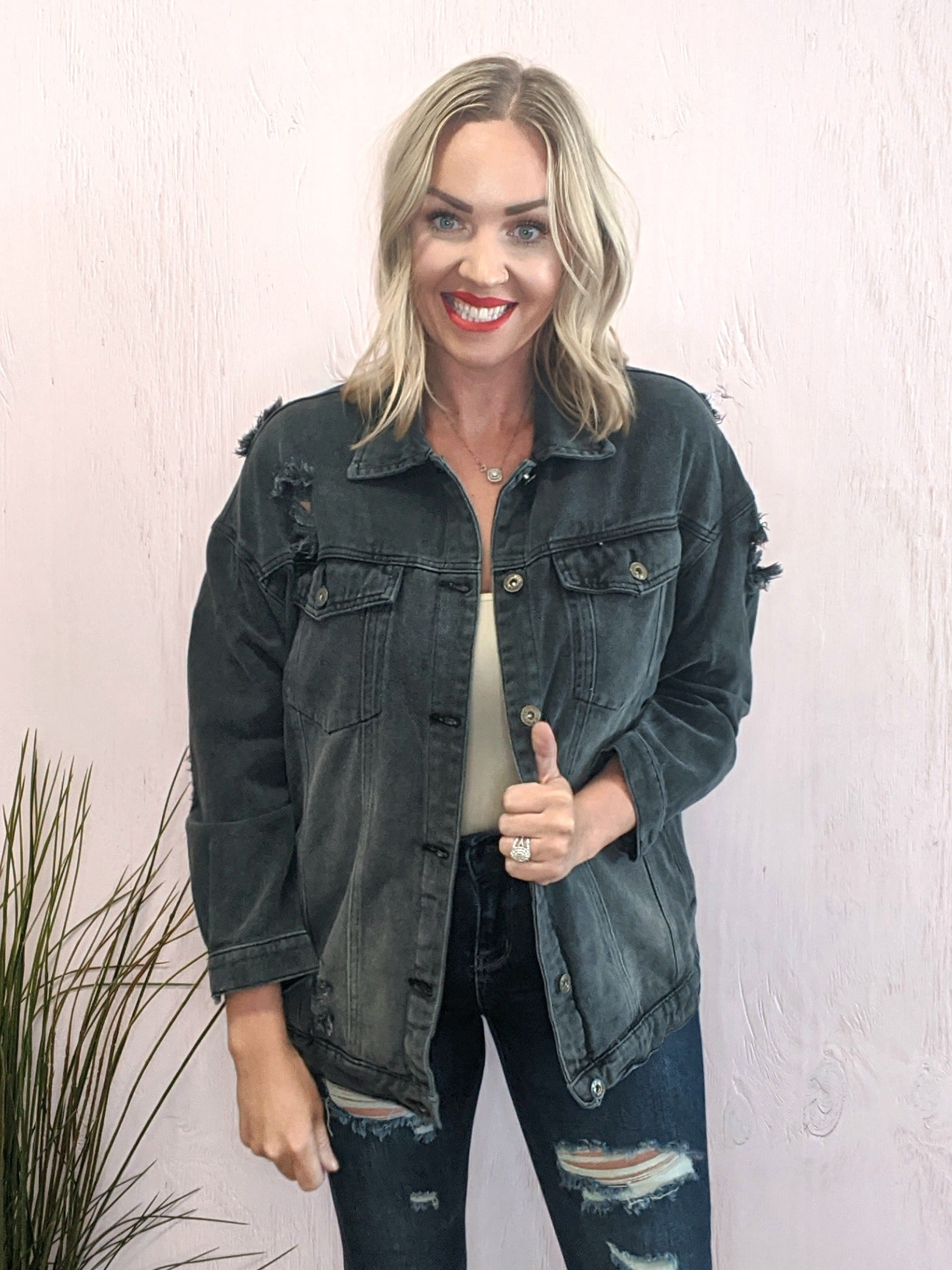 Ollie Black Distressed Denim Jacket
