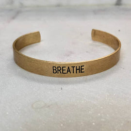 """Breathe"" Gold Cuff Bracelet"