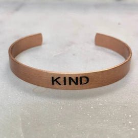"""Kind"" Rose Gold Cuff Bracelet"
