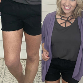 Black Freyed Hem Shorts