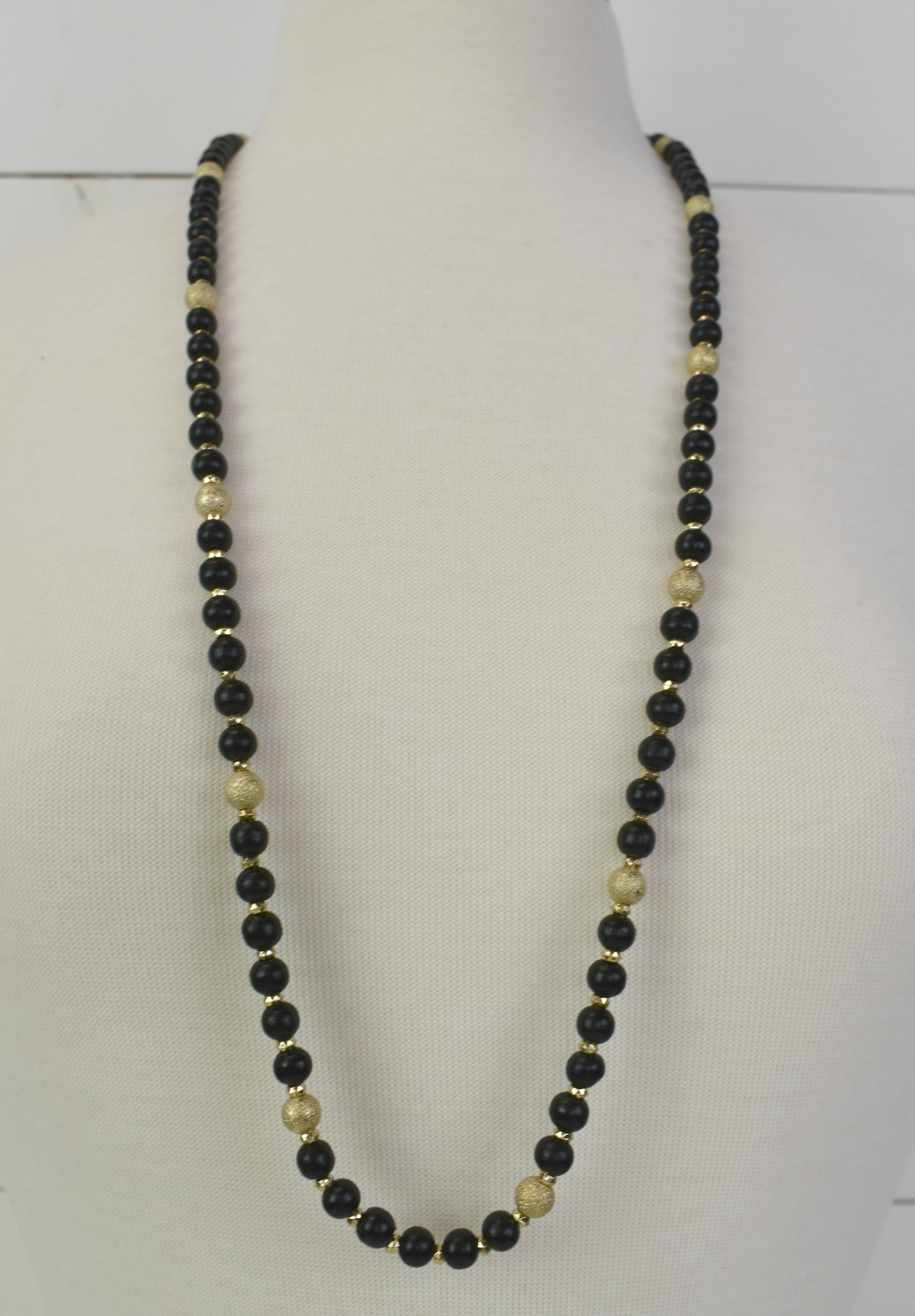 Rory Black & Gold Bead Necklace
