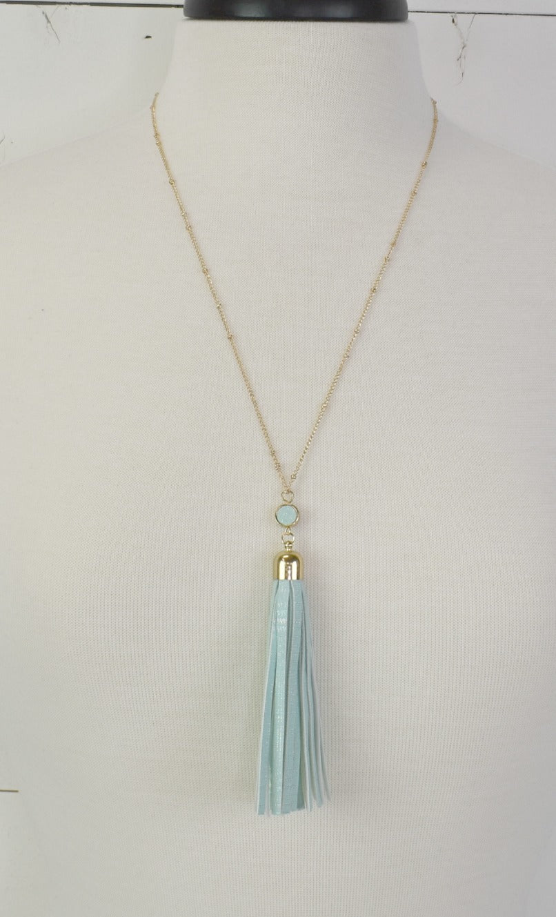Fun Fringe Necklace - Aqua