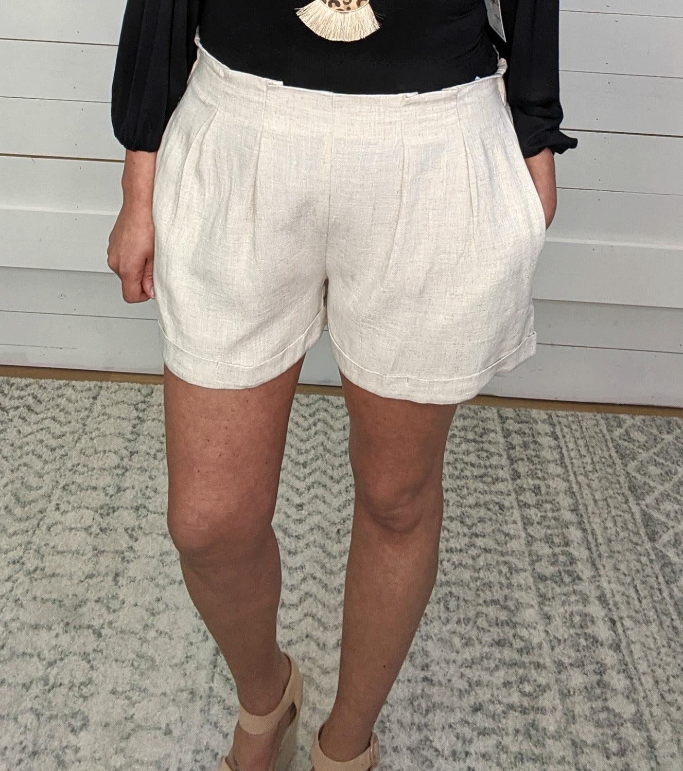 Brad Pintucked Shorts - Oatmeal *Final Sale*