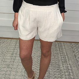Brad Pintucked Shorts - Oatmeal *Final Sale* was $36