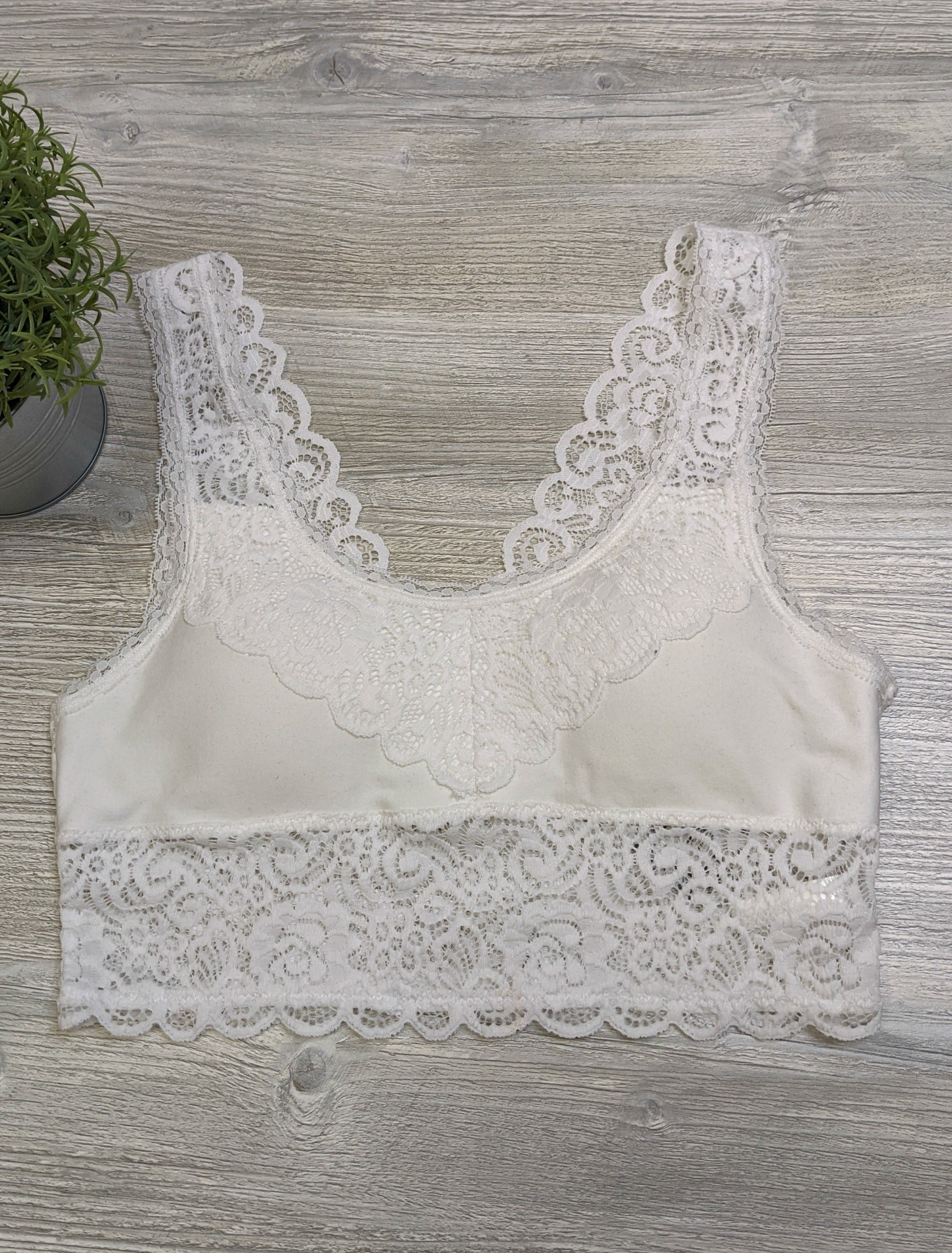 Scoop Neck Lace Bralette WHITE